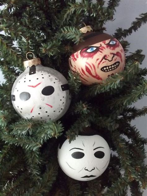 michael myers freddy krueger and holiday ornaments on