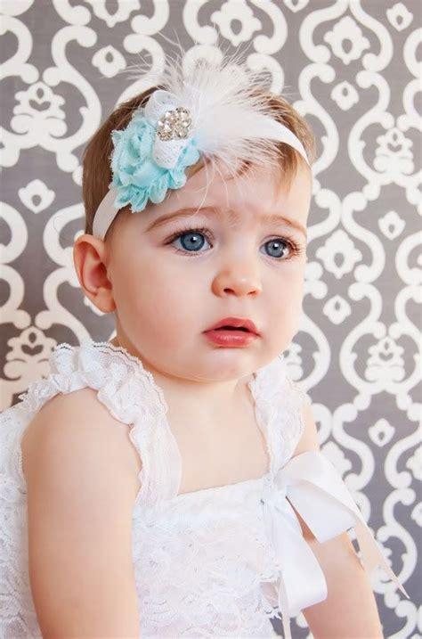 baby headband shabby chic headband baby bow feather headband newborn headband toddler
