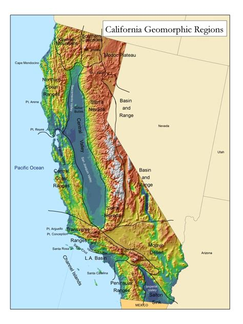 california map relief golden state