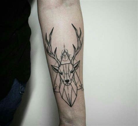 animal tattoo underarm geometric deer tattoo on arm