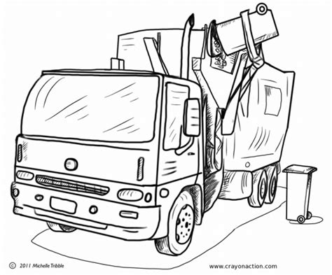 coloring page of trash truck garbage truck coloring page crayon action coloring pages