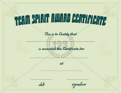 Team Spirit Award Certificate Template Free Download