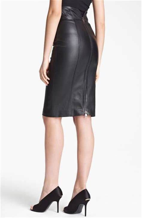 high waisted leather burberry high waist leather skirt in black lyst
