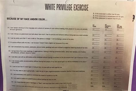 white privilege survey posted   minority school