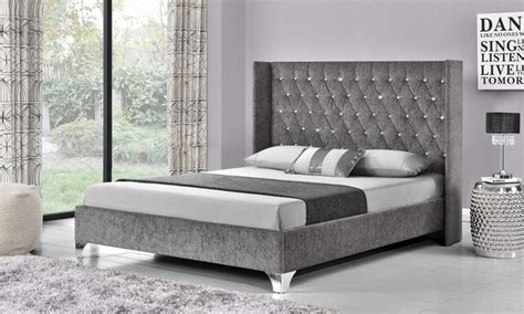 button bed frame diamante button wing back bed groupon goods