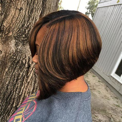 caramel highlites on inverted bob 35 short weave hairstyles you can easily copy