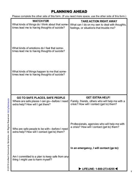 safety plan suicidal ideation template safety planning for risk