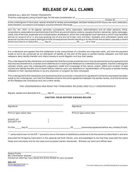 RELEASE OF ALL CLAIMS   Nevada Legal Forms & Tax Services Inc.