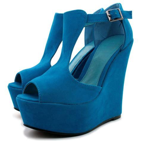 wedge heel suede heel platform ankle buckle shoes