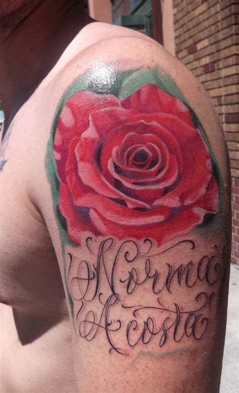 dark red rose tattoos bryangvargas