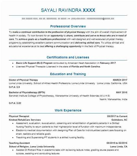 Resume Objective For Physical Therapist