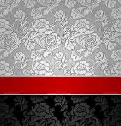Seamless decorative background silver with a red ribbon vector