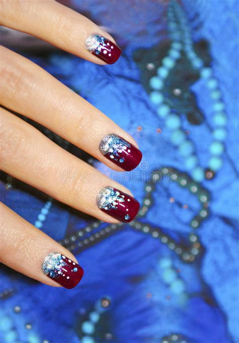 festive nail design royalty  stock photo image