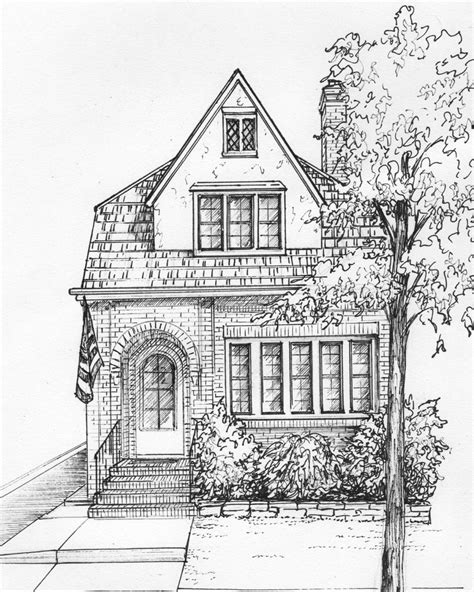residential ink home design drafting house drawn in ink 8x 10 architectural sketch one