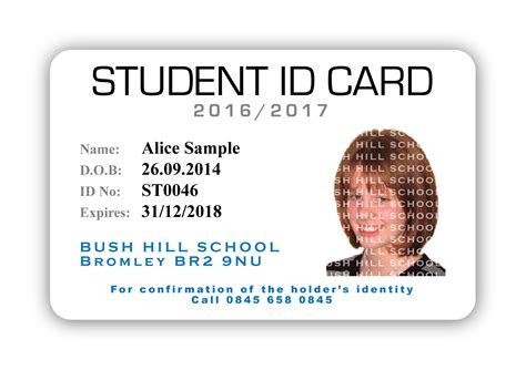 student id card template uk bush hill school student id castlemount