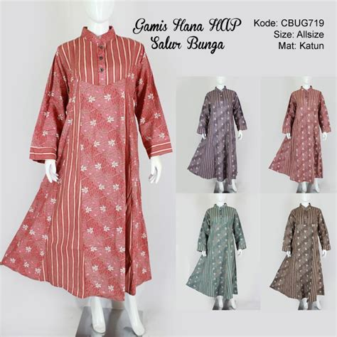 Gamis Batik Dress Batik Hana gamis harian gamis bunga gamis kupu kupu daftar harga