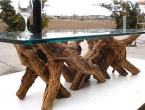 tree trunk table with glass top recycled furniture and