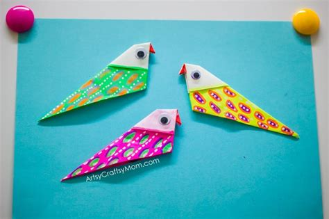 Origami Bird Beak - how to make an easy and colorful diy origami bird magnets