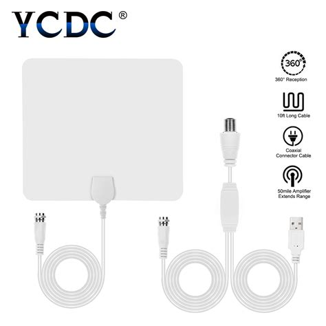 ycdc flat hd tv lified indoor digital tv antenna high gain hdtv 50 range atsc dvb isdb