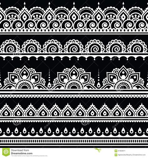 black and white pattern tattoo mehndi indian henna tattoo seamless white pattern on