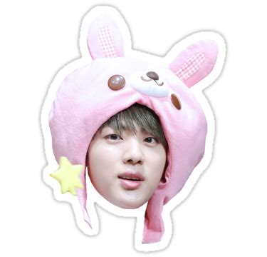 Bunny Home Decor by Quot Jin Bunny Hat Bts Quot Stickers By Ichigobunny Redbubble