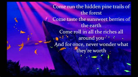 to the colors colors of the wind by judy kuhn w lyrics from disney s