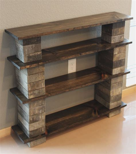 diy rustic cinder block bookshelf with wooden boards