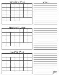 Calendar 2018 January February March 3 Month Calendar 2018