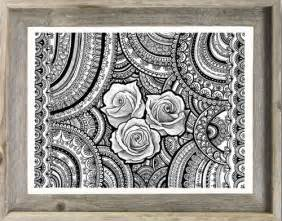 Hippie Boho Room Decor Black White Original Drawing Roses Mandalas Zentangle Art
