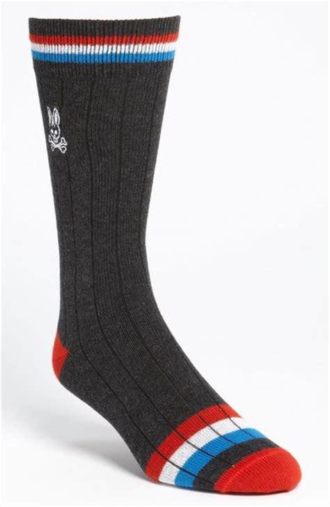 sock bunny stripe psycho bunny stripe socks in gray for charcoal lyst