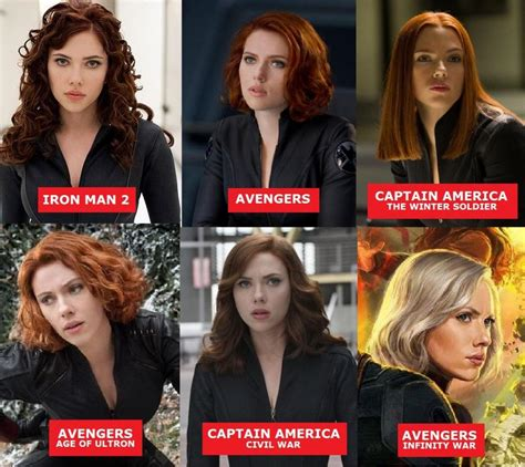black widow hair color infinity war photos reveal plot details for
