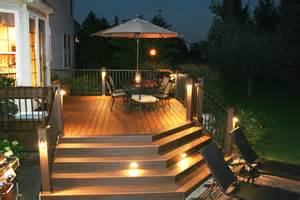 Patio Accent Lights Trex Deck With Stair Riser And Accent Lights Archadeck