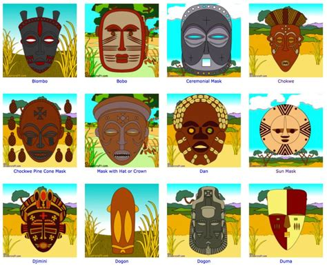 names of different types of individual by african coloring page website with 86 traditional african mask