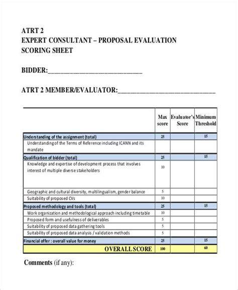 7 proposal evaluation form sles free sle exle
