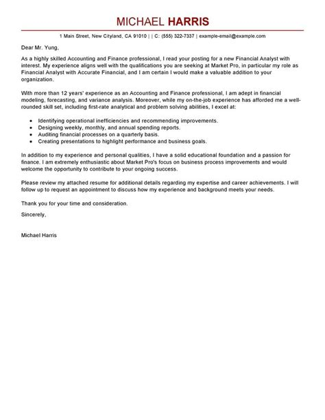 accounting position cover letter cover letter for finance the letter sle