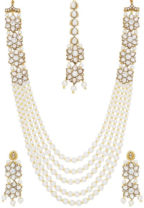 Pearl Layered Necklace pearl layered necklace set jpm2836