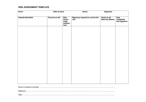 How To Conduct A Risk Assessment Basic Risk Assessment Template