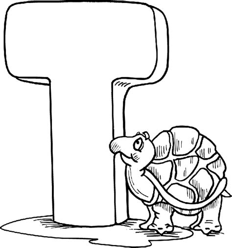 Letter T Coloring Page by Free Alphabet Coloring Pages