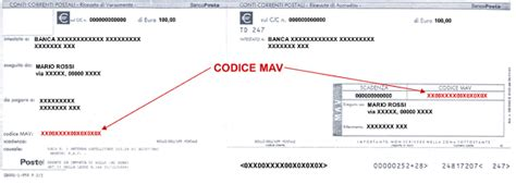 codice identificativo ufficio postale cosa sono i mav rav e bollettino freccia