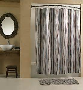 chic brown and blue wavy stripe fabric shower