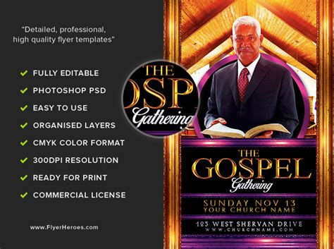 gospel gathering flyer template flyerheroes