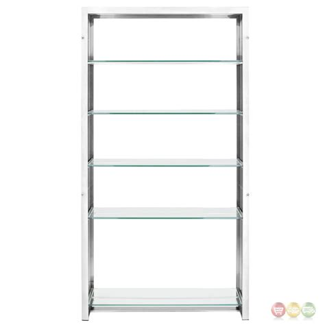 gridiron modernistic stainless steel bookshelf with glass
