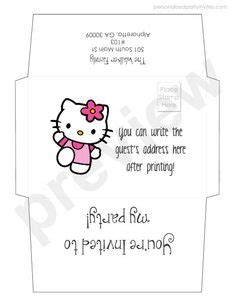 printable birthday invitations and envelopes hello kitty letter envelope 2 invitations printables