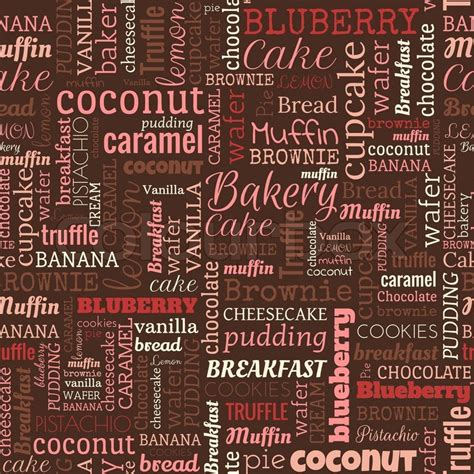 words pattern background bakery words tags seamless pattern on the brown