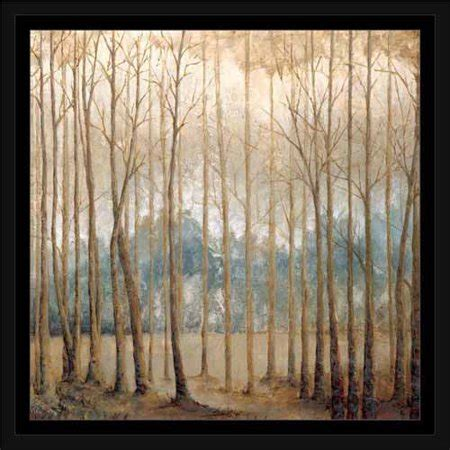 neutral birch tree forest landscape painting tan blue