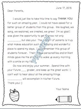 thank you letter to preschool parents end of school year thank yo by jimmy d teachers pay
