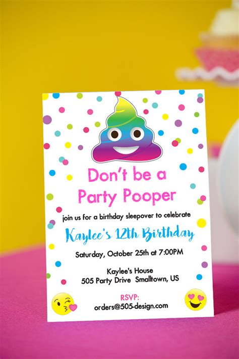 printable emoji birthday invitations emoji party pooper invitation instant download printable