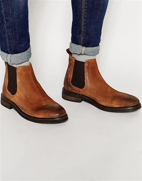 lyst asos chelsea boots in suede with chunky sole in brown for