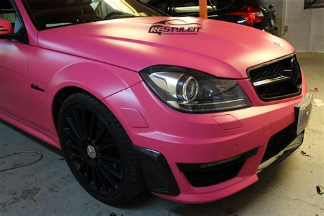 light pink mercedes matte pink mercedes c63 vehicle customization shop