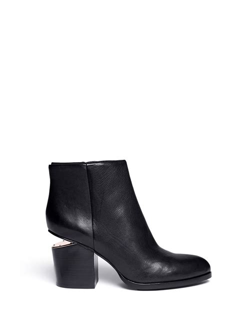 wang gabi cutout heel leather ankle boots in